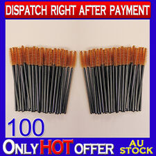 100 Pack Disposable Mascara Wands Eyelash Brush Set Handy Easy to Carry Brown