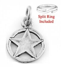 STERLING SILVER TEXAS LONE STAR CHARM WITH SPLIT RING