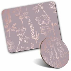 Mouse Mat & Coaster Set - Elegant Floral Pattern Art  #2447