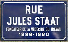 French enamel street sign name Jules Staat occupational medicine pioneer Reims