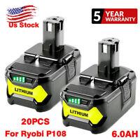 18V For Ryobi P108 One+ Plus Lithium High Capacity Battery 6.0Ah P104 P105 P102