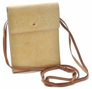 Authentic Louis Vuitton Vernis Kenmare Shoulder Pouch Yellow LV B6941