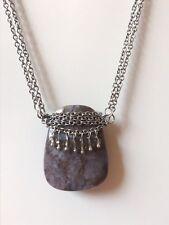 Renaissance Tigers Eye Gemstone Necklace Stainless Steel Chain 16inch