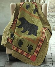 BLACK BEAR PAW 50x60 QUILT THROW : CABIN COUNTRY MOUNTAIN SOUTHWESTERN BLANKET