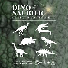 Glitzer Tattoo Kinderfest Set 21 teilig Dinosaurier 12 Schablonen 3 Glitzer