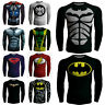 NEW Superhero Men Compression T-shirt Casual Cycling Sports Long Sleeve Top Tee