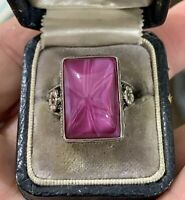 Vintage Art Nouveau Sterling Silver & Art Glass Star Ruby Ring 8.5