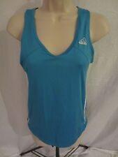 Adidas Sleeveless Athletic Stretch Tank Shirt - Blue w/White Logo - Women's S