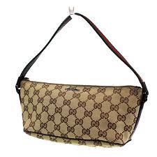 GUCCI GG Supreme Vintage Web Hand Bag Brown Leather Canvas Vintage Auth #L554 Z