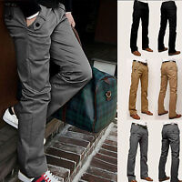 Mens Casual Pencil Dress Pants Slim Fit Straight-Leg Formal Leisure Trousers New