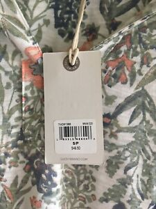 Lucky Brand Peasant Top Women Small Floral Green Long Sleeve NWT