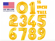 """Gold 16"""" Foil Number Balloons Selfseal Birthday Party Wedding-Choose Any Numbers"""