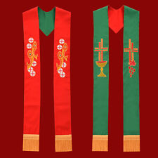 1pc Priest Reversible Stole Fish Cross Chalice Embroidery Church Vestments Stole