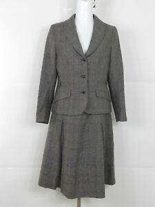 Vintage Wool Skirt Suit 2-Piece Business Career Womens sz 12  USA  Brown Gray