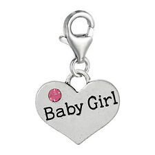 """Heart 2 Sided w/Crystal Baby Girl Clip on Charm 2676"