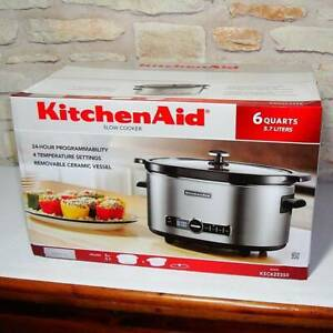 NEW KITCHENAID KSC6223SS 6-QUART SLOW COOKER W/ SOLID GLASS LID -STAINLESS STEEL