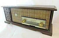 Vtg. Philco Wood Case Tabletop AM/FM Radio; Mod. M-939-124,Twin Speakers Works!