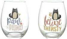 Set of 2 CAT FELINE FINE Slogan Stemless Glass Tumbler Wine Gin Glass Gift