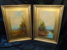 Pair Victorian Style Oil On Board Scottish Highland Glen Landscape Paintings