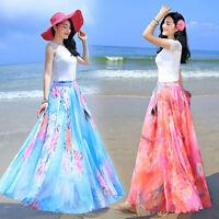 Women Lady Floral Print Elastic Waist Summer Chiffon Maxi Long Skirt Beach Dress