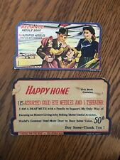 Lot of 2 Vintage Home Sewing Needle Books/Cases - Reliance And Happy Home Japan