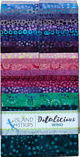 Island Batik Dotalicious Wind Blue Purple Pink Batiks Jelly Roll Strips Pack 40