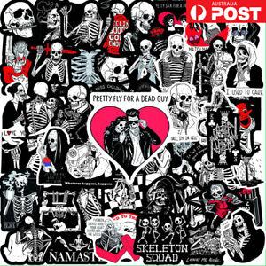 50x Skeleton Skull Goth Gothic Grunge Emo Black Waterproof Stickers Pack Laptop