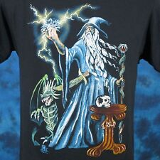 vintage 80s WIZARD DRAGON CARTOON PAPER THIN T-Shirt SMALL fantasy magic sword
