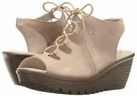 Skechers Suede Lace-Up Peep-Toe Wedges Natural, Size 9 M