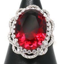 Large 8 Ct Red Ruby Ring Women Wedding Engagement Anniversary Jewelry Gift Box