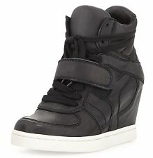 New with Box Ash COOL LEATHER Wedge Sneakers Shoes, black, EUR 39/US 8.5, $295