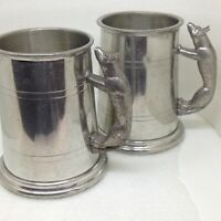 Pair of 2 Vintage Wolf Handle Tankard Mug Fine English Pewter Sheffield England