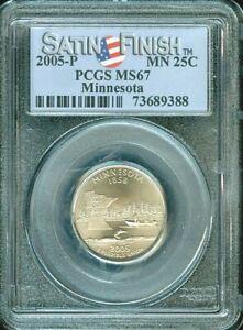 2005-P MINNESOTA STATE QUARTER SATIN FINISH 25 CENTS PCGS MS67 BU UNC COIN #O