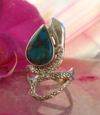 Ring Snake Copper Turquoise Hl Stone D Indian Sterling Silver 925 Size 18,1