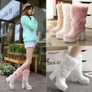Women Platform Sweet Bowknot Fur Lining Chunky Heel Ankle Boots Lolita Girl Shoe