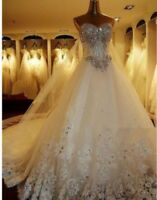 UK ivory Crystal Sleeveless Beaded A Line Wedding Dress Bridal Gown Size 10