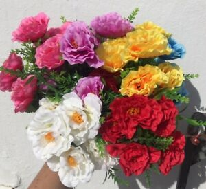 Artificial Silk Flowers Scabia X 6 Bunches Assorted Grave Memorial Job Lot
