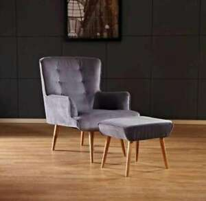 BRAND NEW FLAT VELVET FLORENCE CHAIR GREY WITH STOOL GREY CHEAPEST ONLINE
