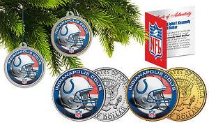 INDIANAPOLIS COLTS Christmas Tree Ornaments JFK Half Dollar US 2-Coin Set NFL
