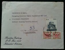 EMBASSY OF BRAZIL IN PAKISTAN OFFICIAL USED COVER SCARCE L@@K!!