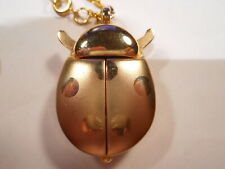 Vintage Big LadyBug NECKLACE Hidden Watch Nice Chain Needs New Battery to Work