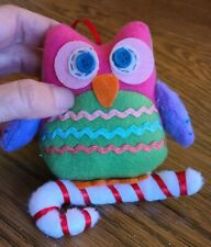 "Felt Owl Christmas Ornament Perched on Felt Candy Cane 4"" Kitsch Pink Purple"