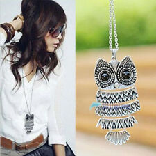 New Women Fashion Vintage Style Silver Owl Long Chain Necklace Pendant Jewelry