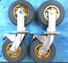 "4 x 8"" Solid Castor Wheels 2 With Brake for Heavy Duty Trolley 250kg Load each"