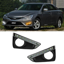LED DRL Daytime Running Lights w/ Fog Driving Lamp Cover for Toyota Reiz 2013-16