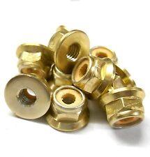 L1475 1/10 Scale RC Car Alloy M4 4mm Thread Nylon Lock Nuts Flanged x 10 Gold