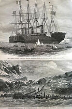 French Atlantic Cable BAY of MINON Near BREST Great Eastern  1869 Print Matted