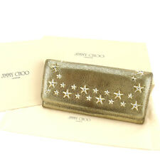 Jimmy Choo Wallet Purse Long Wallet Gold Woman Authentic Used Y5031