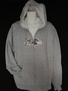 Baltimore Ravens Hoodie Gray Zip up Men's Large NFL Football Vintage Sweatshirt
