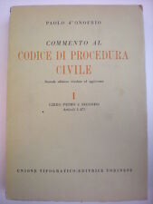 DIRITTO D'ONOFRIO COMMENTO AL CODICE DI PROCEDURA CIVILE ART 1-831 UTET 1951